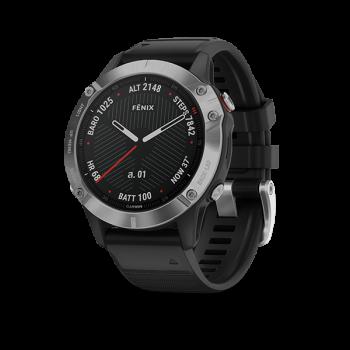 Garmin Fenix 6 Silver with Black Band - นาฬิกา GPS มัลติสปอร์ตพรีเมี่ยมขนาดมาตรฐาน